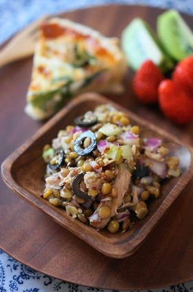 レンズ豆とツナオリーブのマリネ画像